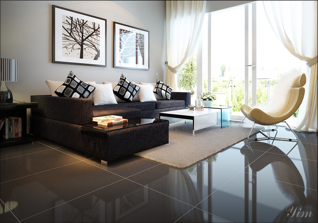 Warm and cozy rooms rendered by yim lee for Modern living room flooring ideas