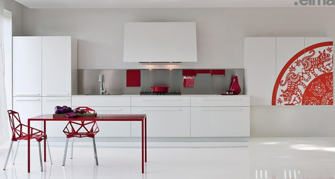 White With Red Pops of Colour