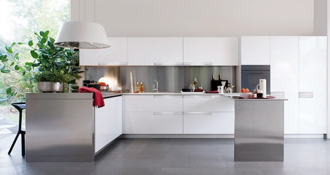 White and Polished Silver Kitchen