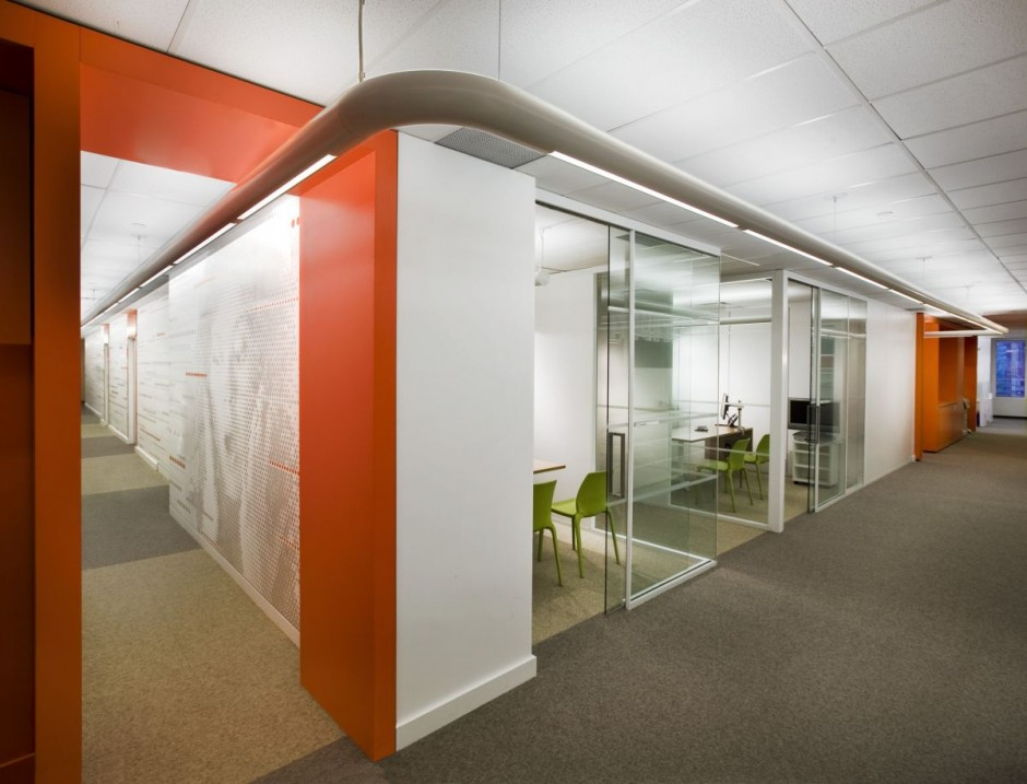 Beautiful office interiors of a canadian media company for Office space design companies