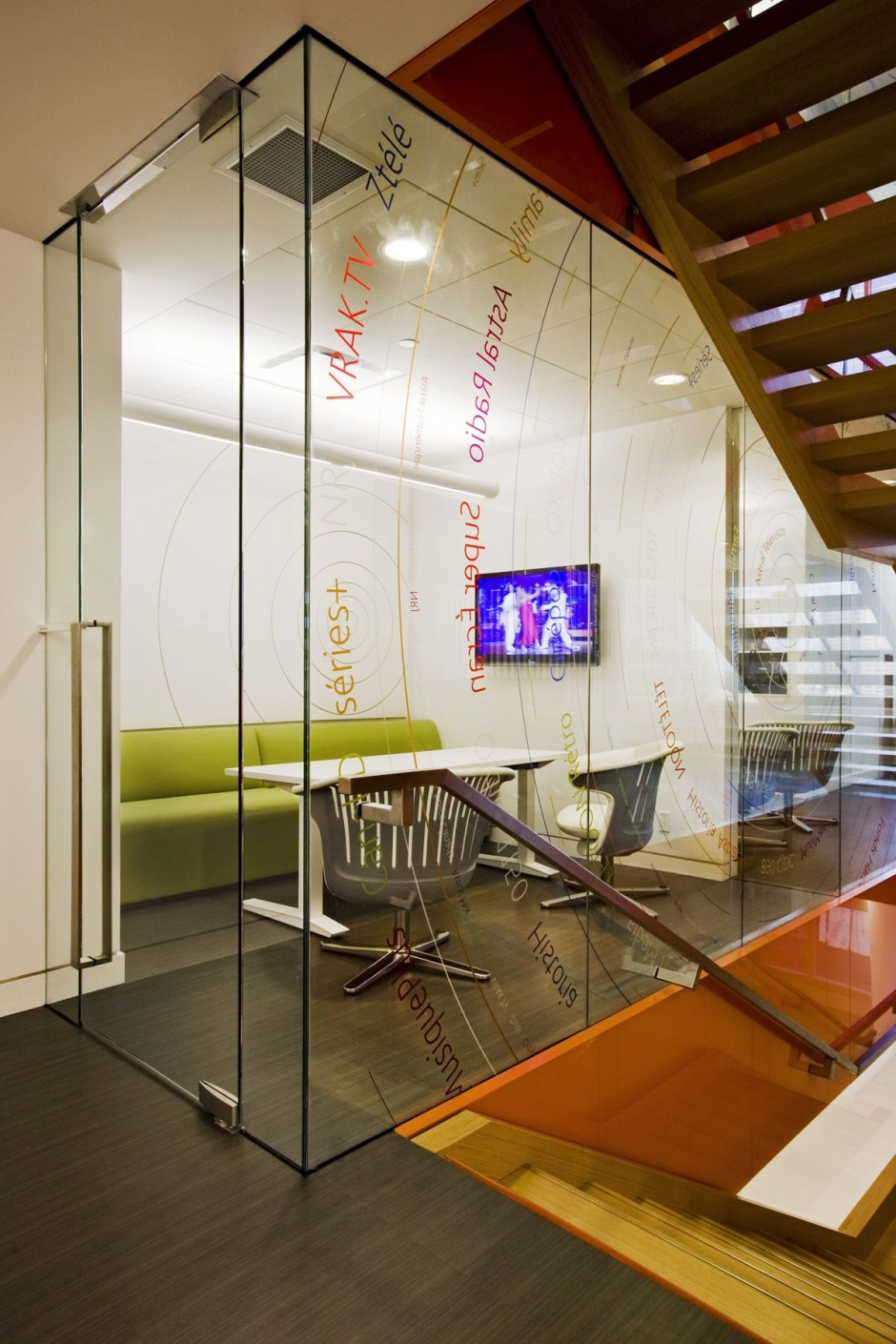 Beautiful office interiors of a canadian media company for Office design room