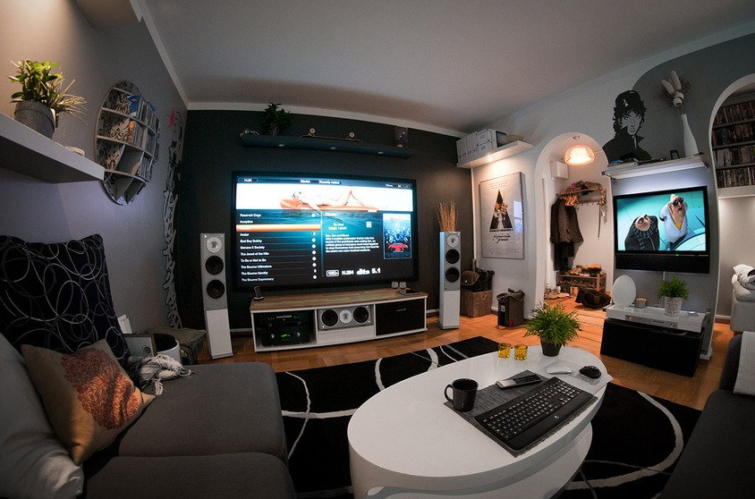 A massive home entertainment setup - Living room home theater ...