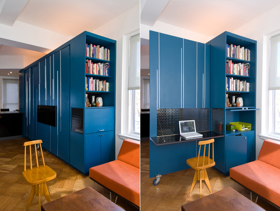 Super small apartment design in manhattan for Tiny apartment storage ideas