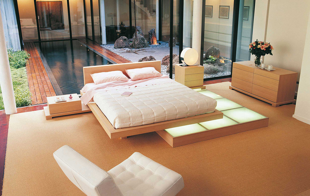 beech wood platform bed interior design ideas