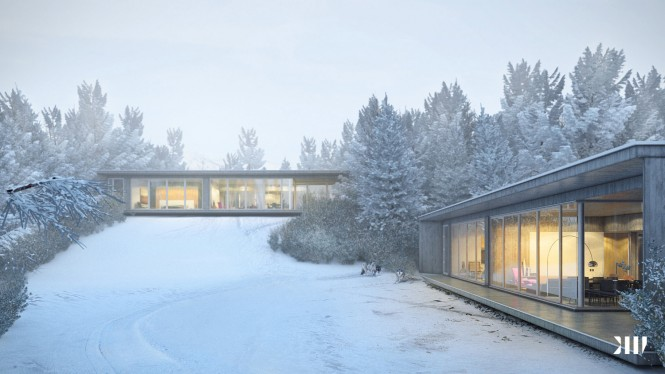 Glass sided house in snow
