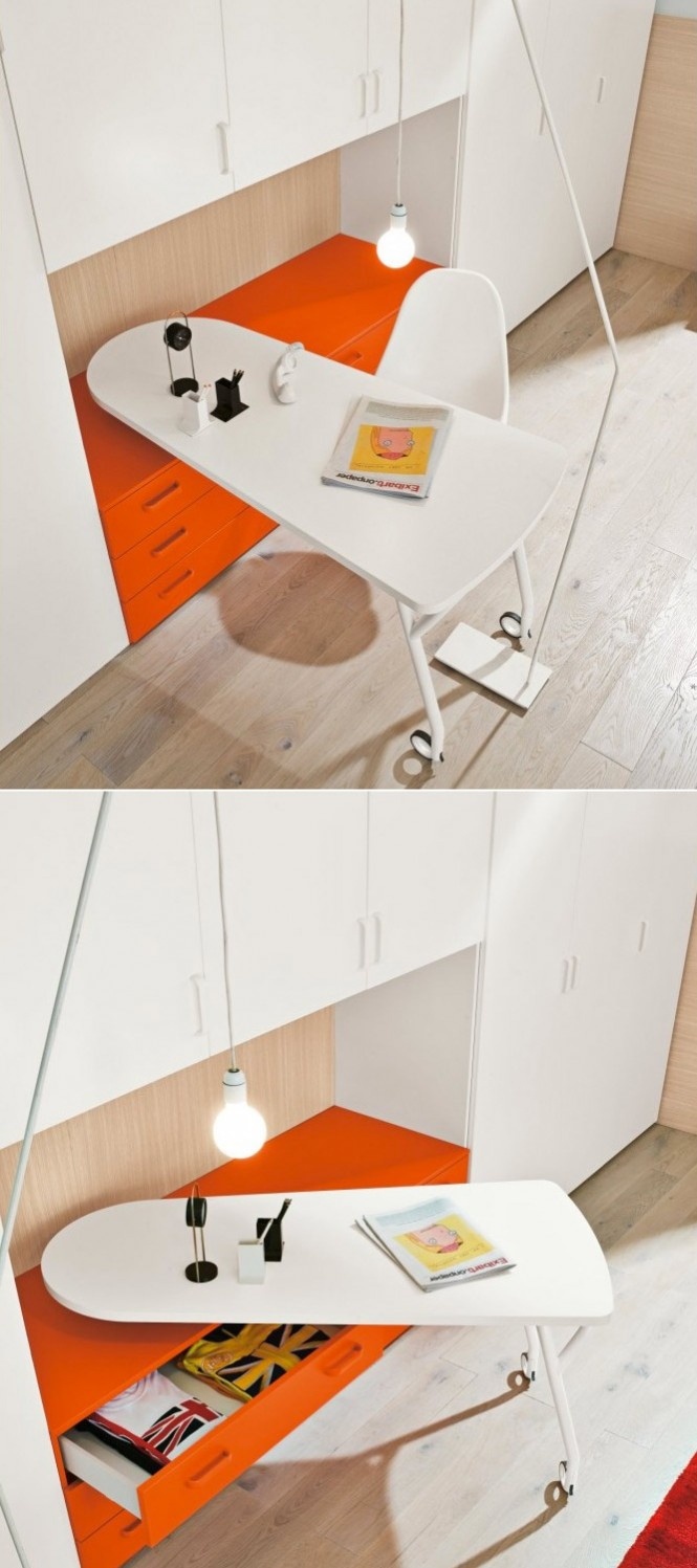 Orange white desk on wheels