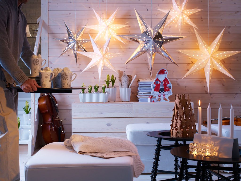 Star lights interior design ideas Christmas interior decorating ideas