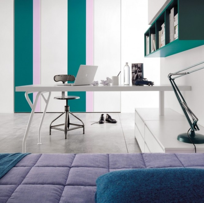 Teal lilac stripe study bedroom