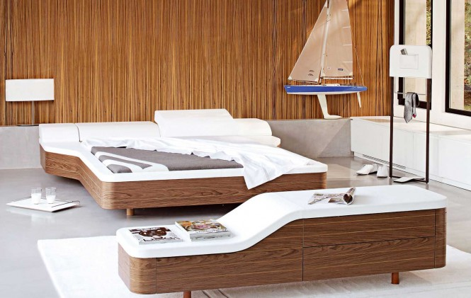 Walnut white unusual platform bed