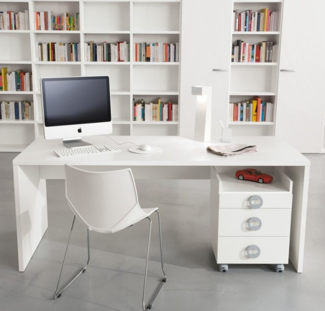 White home office library