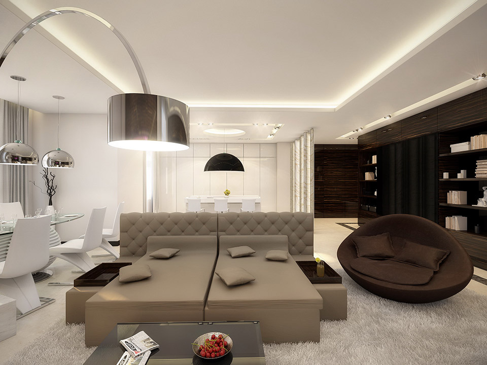 White Taupe Brown Lounge Interior Design Ideas