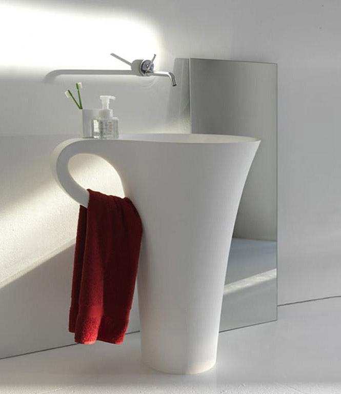 basin integrated towel rail