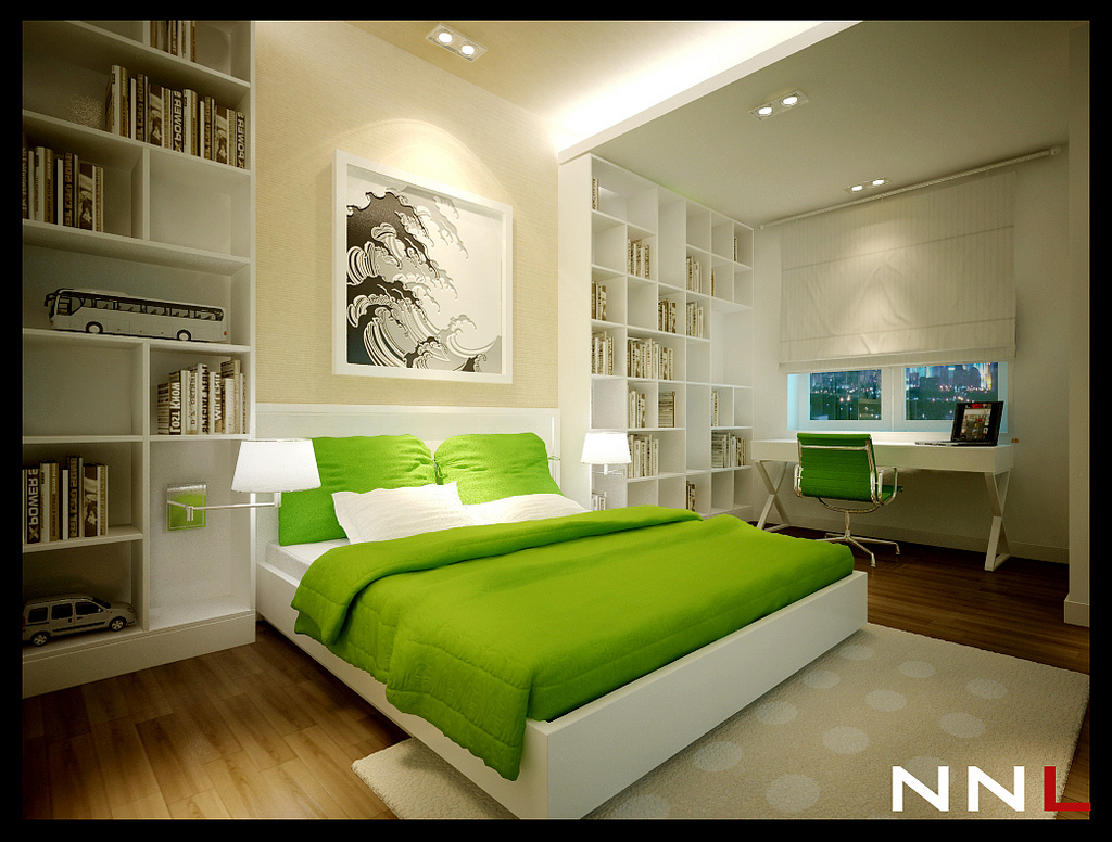 Green White Bedroom Interior Design Ideas