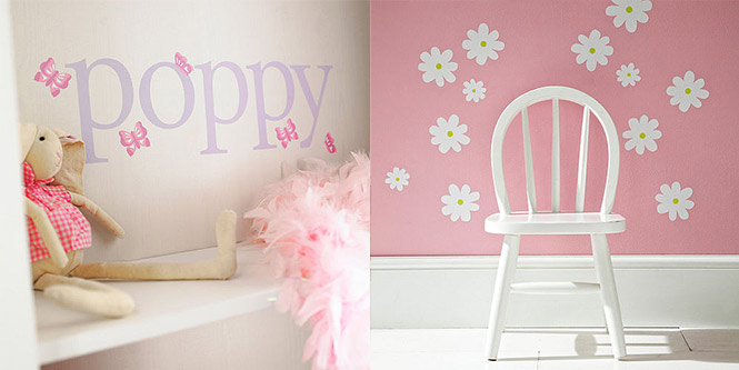 name butterfly daisy wall stickers