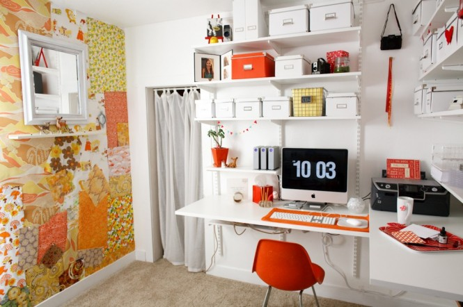 Colorful wall treatments will keep you energized.