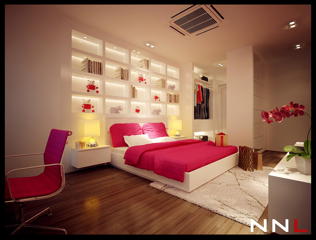 Pink white bedroom interior design ideas for Bedroom for girl interior design