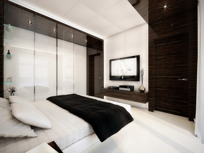 white and wood bedroom