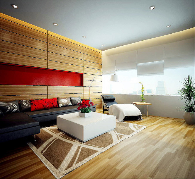 wood panel red accent living