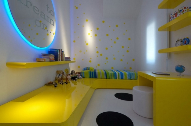 yellow blue white bedroom