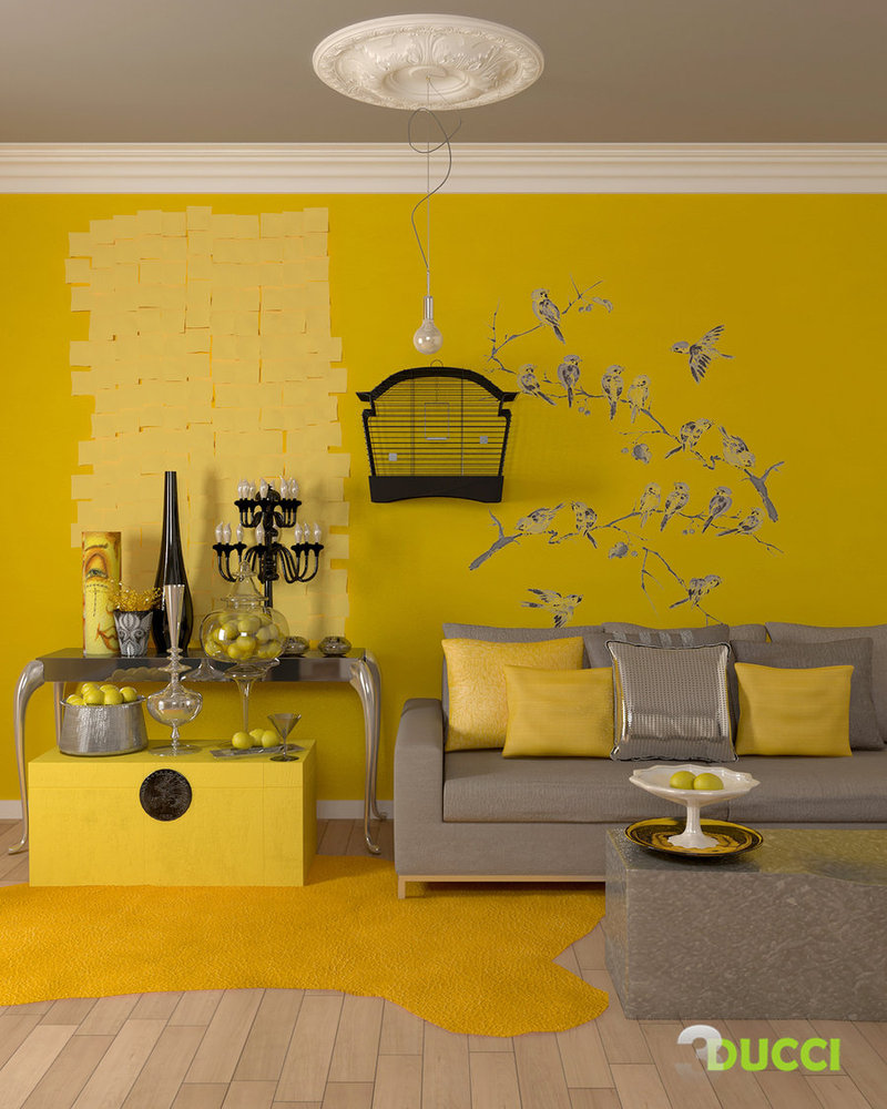 Yellow room interior inspiration 55 rooms for your for Living room yellow and gray