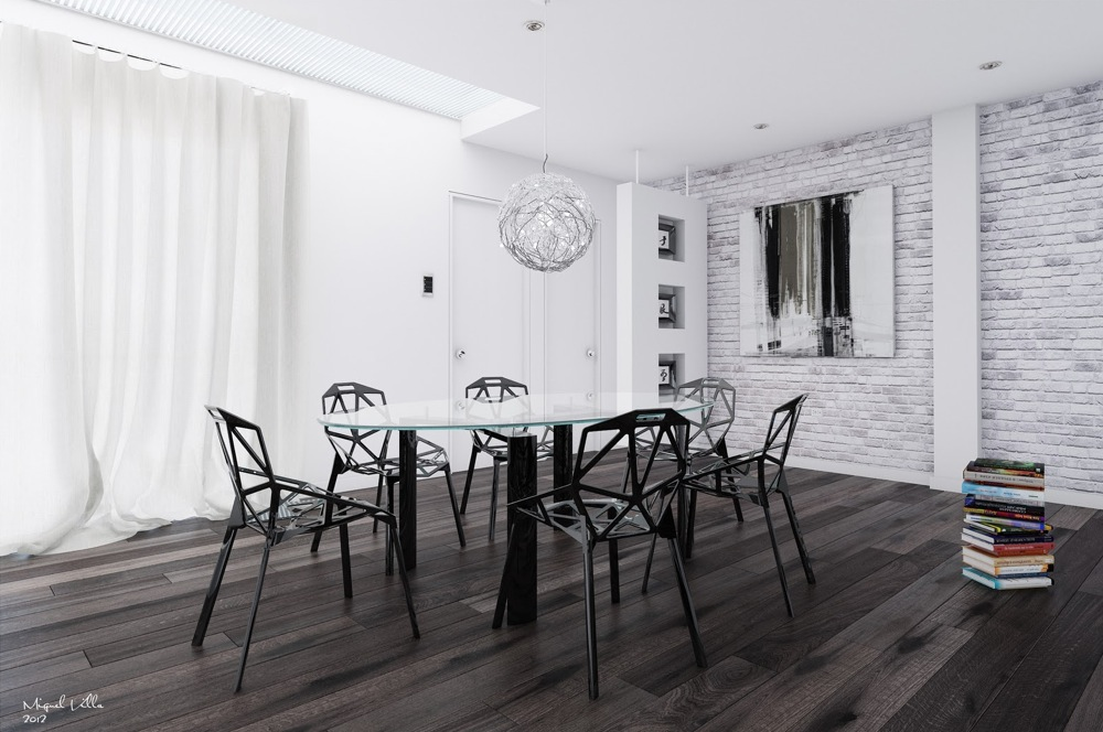 Black white interiors for Black dining room walls