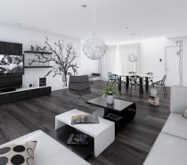 Via Proyecta 3D StudioTo add a little more punch, try adding wall panels in black, or brown-black materials, a wall mounted entertainment unit is a great option as it will also blend a dark flat screen TV in with the design.
