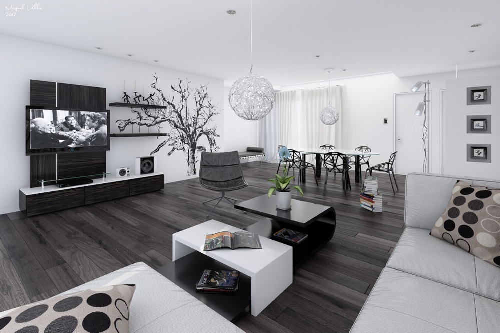 Black white interiors for Pictures of black and white living room designs