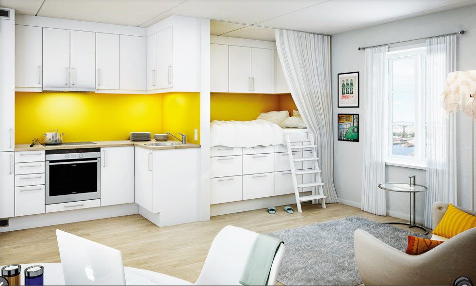 16link yellow studio interior design ideas studio design ideas - Small Studio Design Ideas