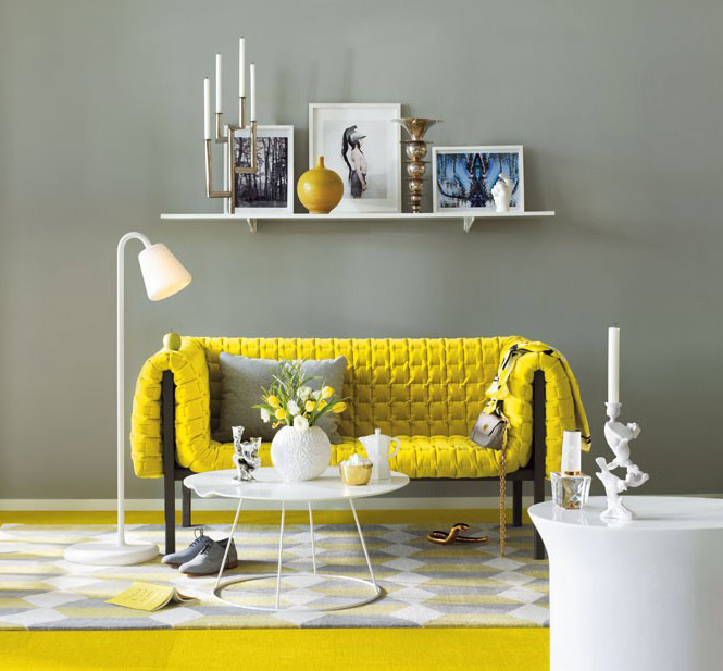 Via ligne roset usaa grey background pulls the bright shade back for a more sophisticated look for Yellow and gray living room ideas