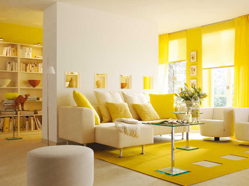 Yellow living room yellow mania pinterest accent - Living room yellow wall ...