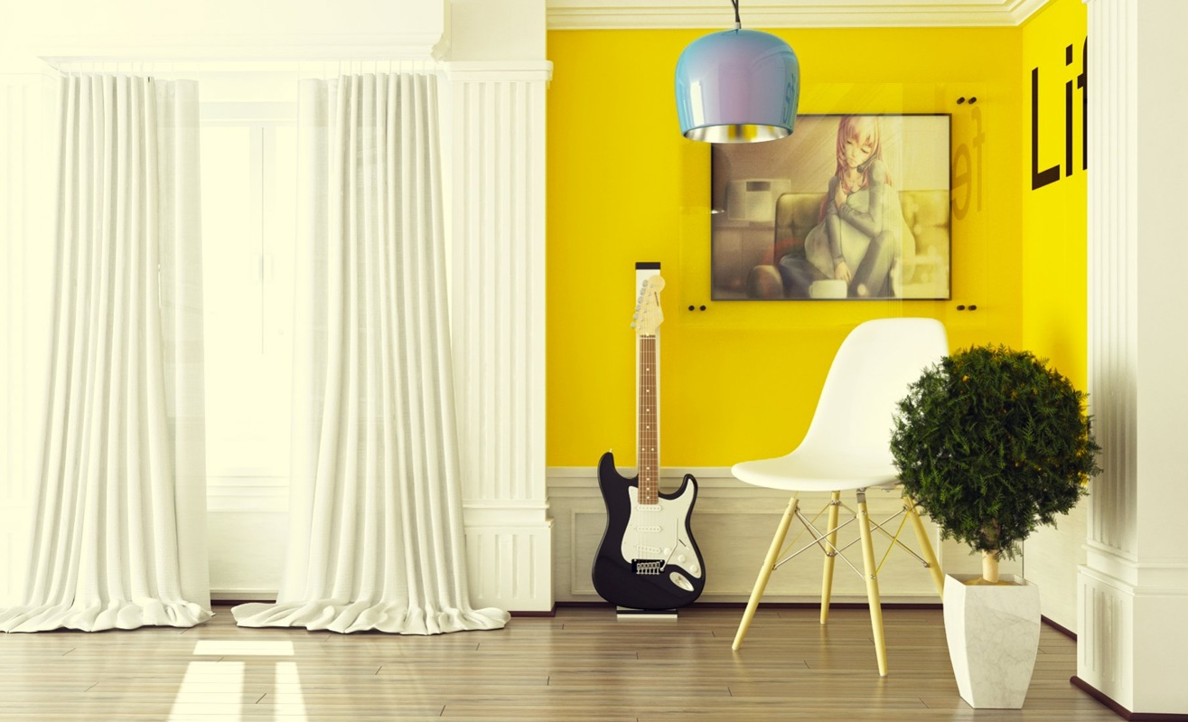 Yellow room interior inspiration 55 rooms for your for Sofas para habitaciones juveniles