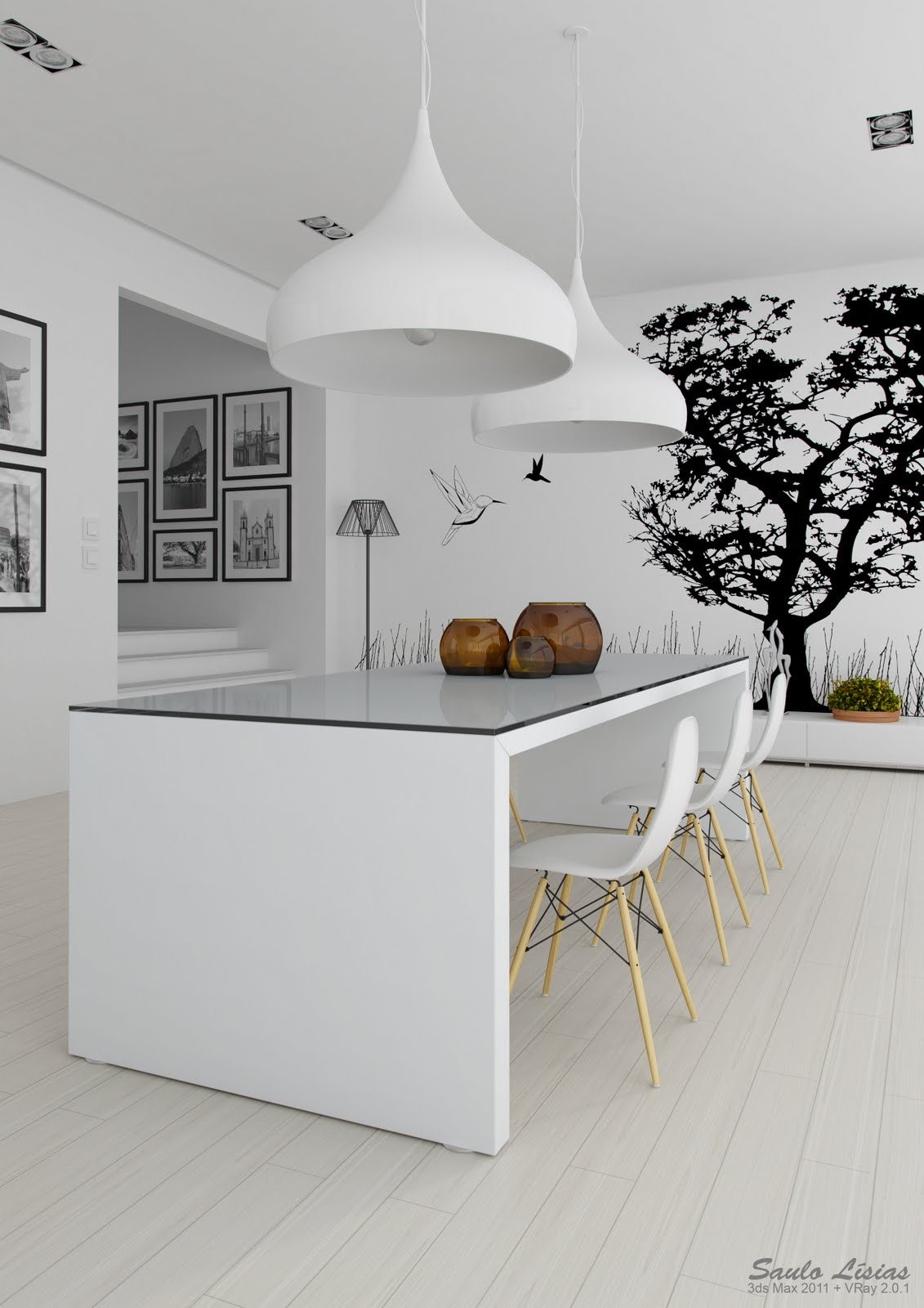 Black white interiors for White kitchen designs