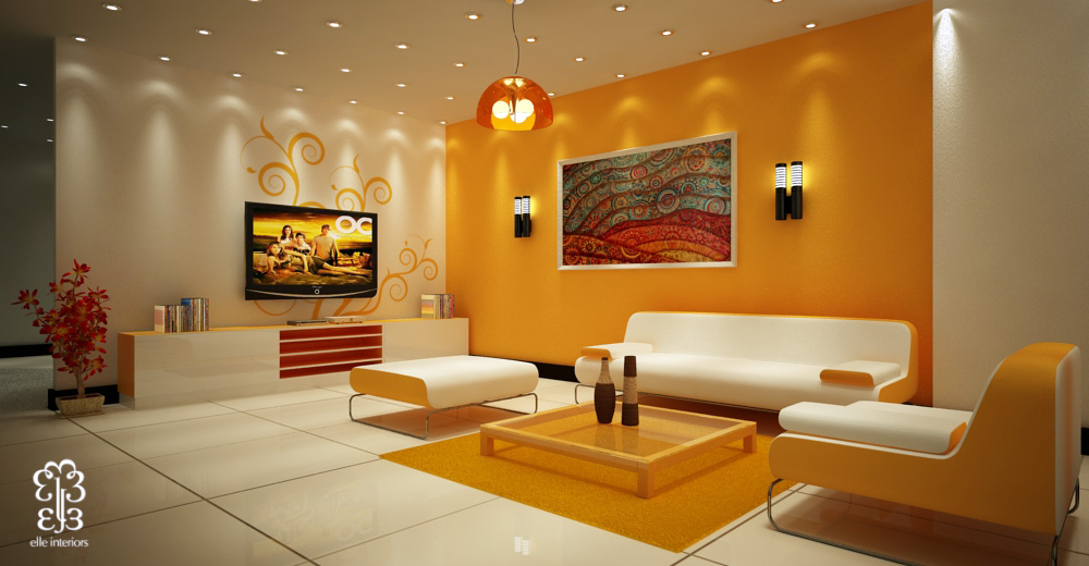 Pretty Living Room Colors Prepossessing With Orange Accent Wall Ideas for Living Rooms Photo