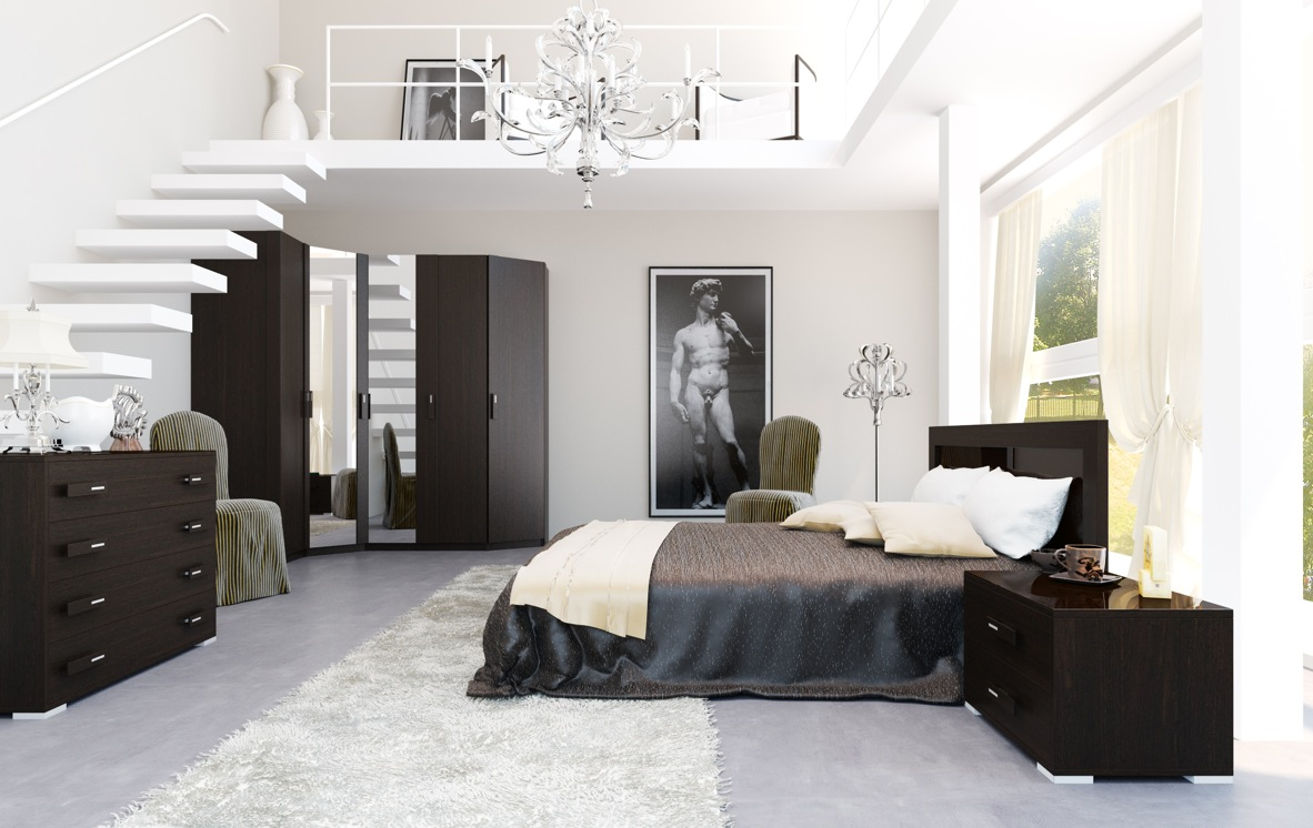 Black white interiors for Four bedroom design
