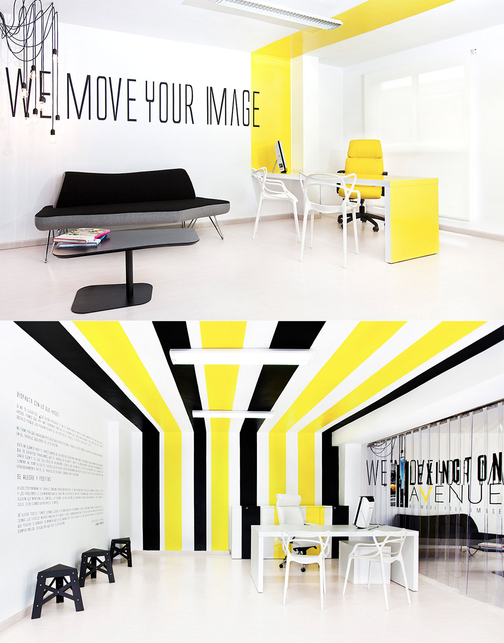 45 office space yellow black stripes interior design ideas