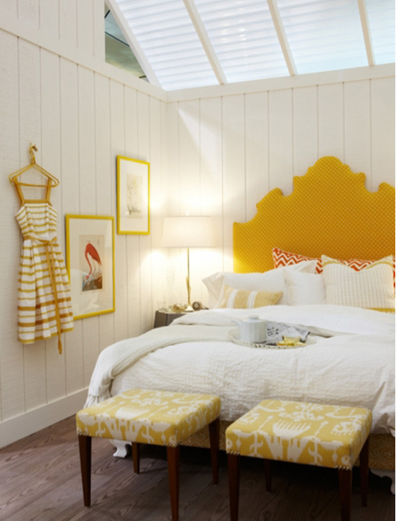 46 yellow headboard bedroom interior design ideas - Decorating with mustard yellow ...