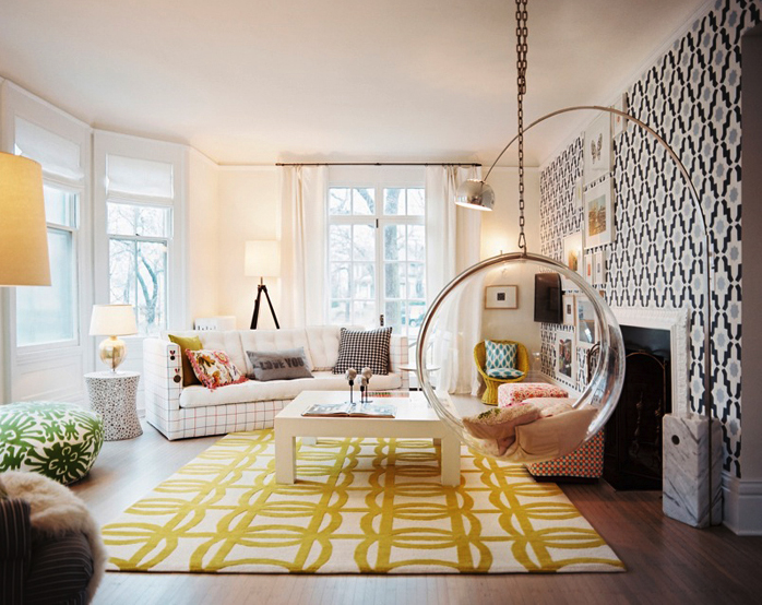 47 yellow black living room bubble swing interior design ideas