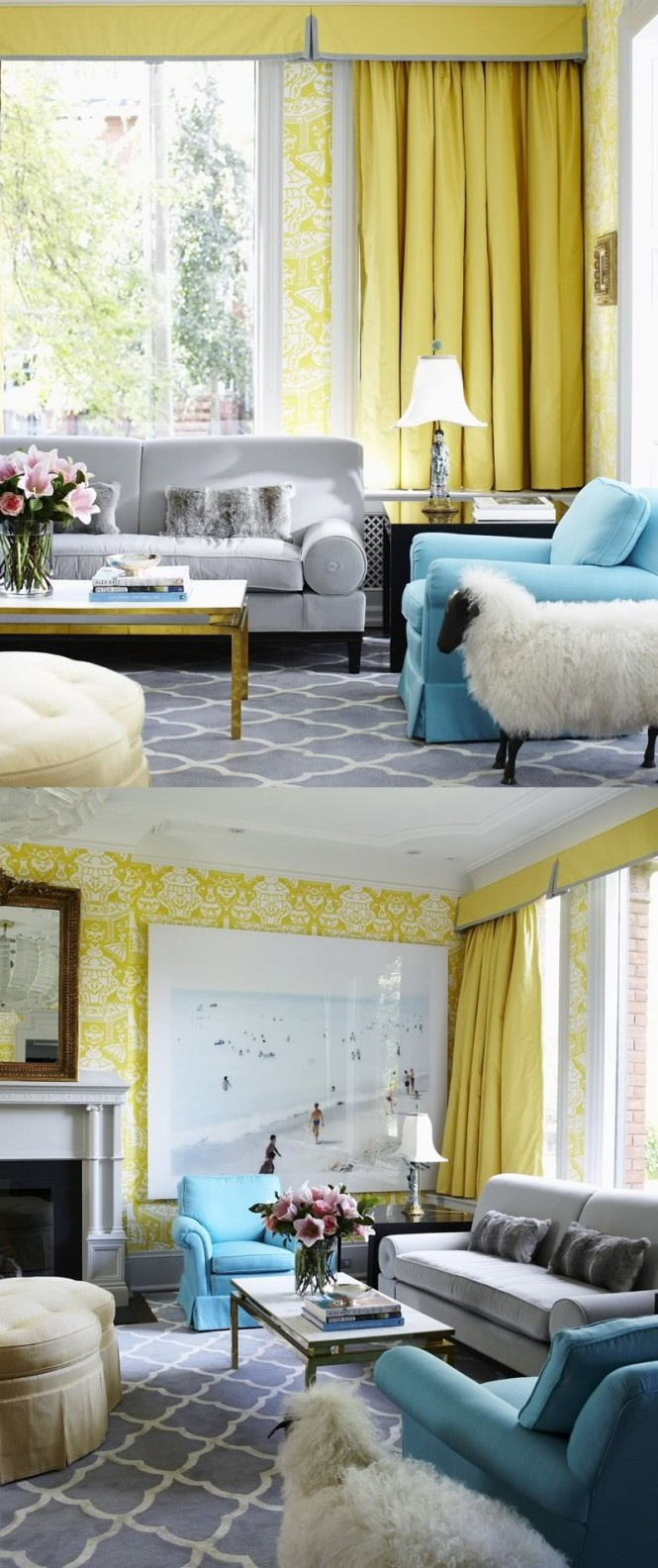 Yellow room interior inspiration 55 rooms for your viewing pleasure Gray blue yellow living room