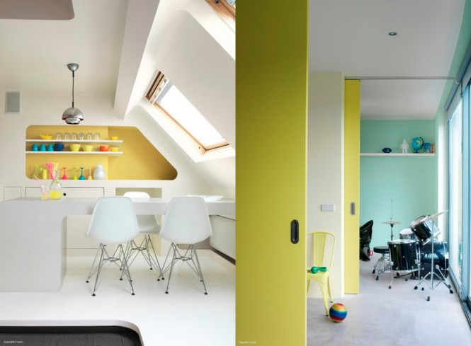 Via Ambiancemixcollections In a kitchen or dining space, yellow is very effective as the backing color to an area of shelving, especially when stacked with other colorful items, cups and bowls.