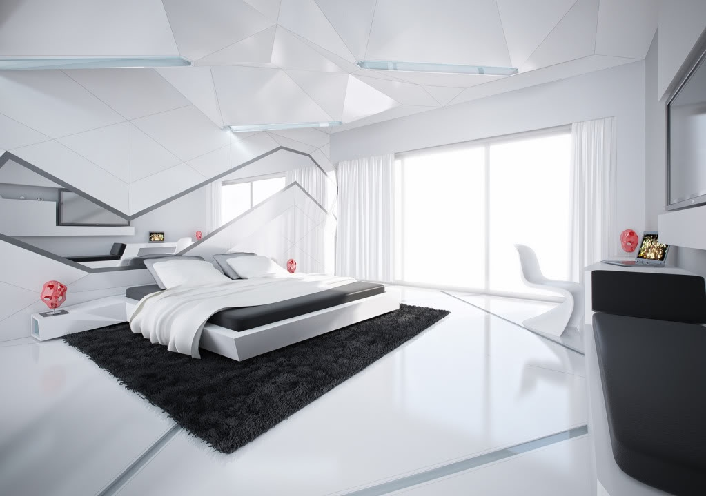 5 black and white modern bedroom