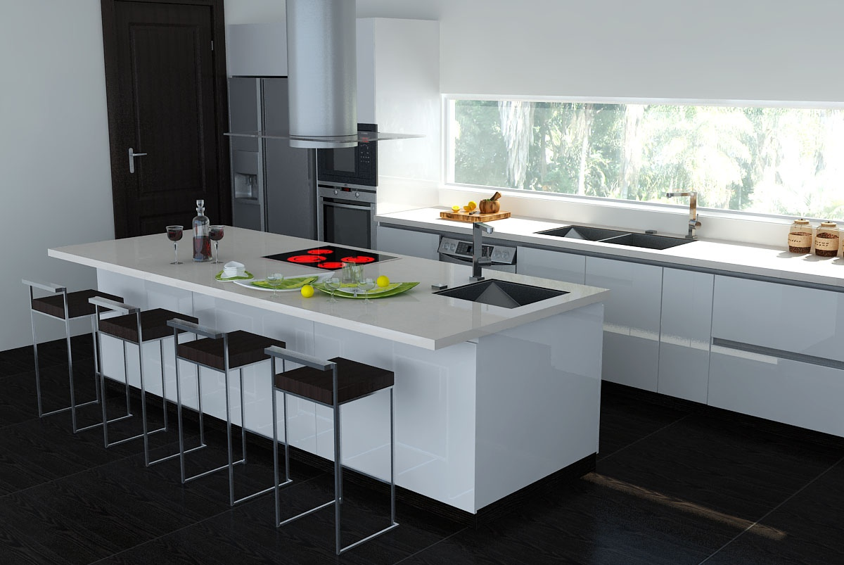 Black white interiors for Pics of white kitchens