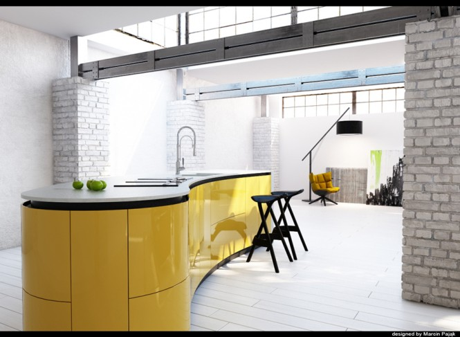 Via MarcinpajakTrue lovers of a yellow palette with revel in glossy color block kitchen units, or go for yellow splashbacks if you're not feeling quite so brave.