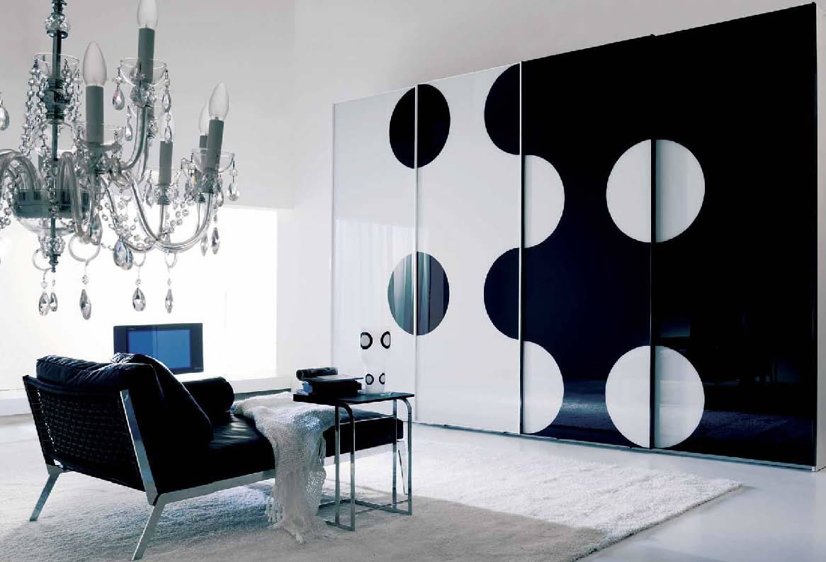 Black white interiors for Interior wall design