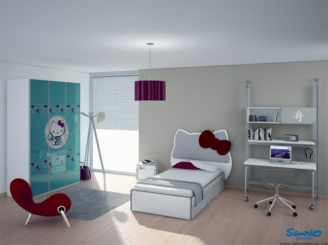 Aqua purple red Hello Kitty room