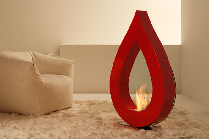 BIG FLAME Red teardrop fireplace