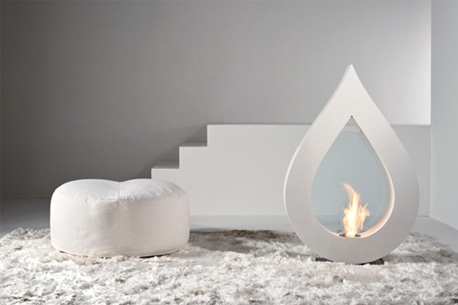 BIG FLAME White teardrop fireplace | Interior Design Ideas.