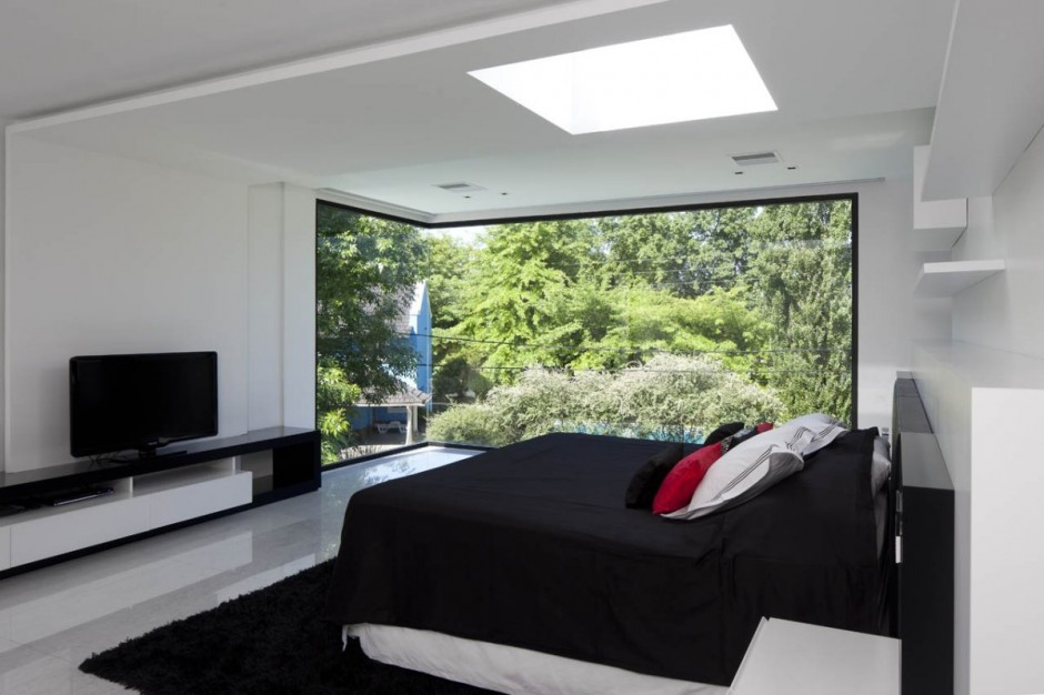 Carrara House black white red bedroom | Interior Design Ideas.