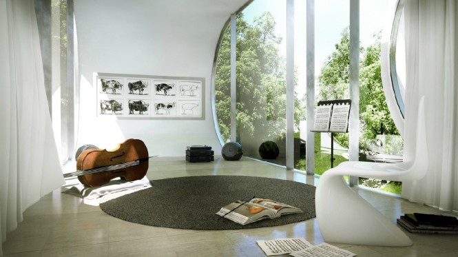 This contemporary music room looks out of dual aspect curved windows, upon an abundance of nature; simply breathtaking.