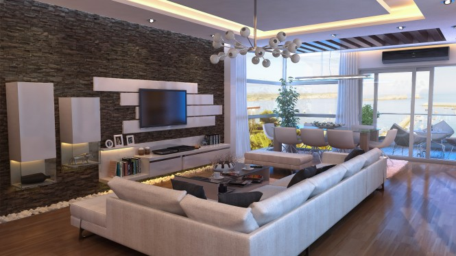 Furniture pieces should not hug the walls or be condemned to one level. Move the sofa toward the centre room, it actually creates the illusion of a larger space, and don't forget to utilize the full height of your room with wall mounted units.
