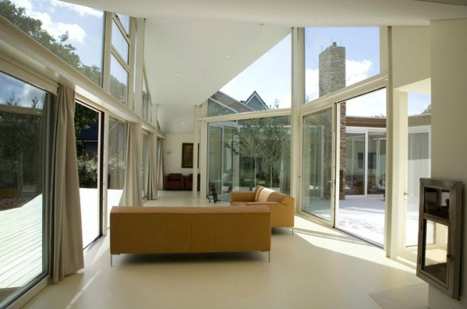 Glass wall white living room